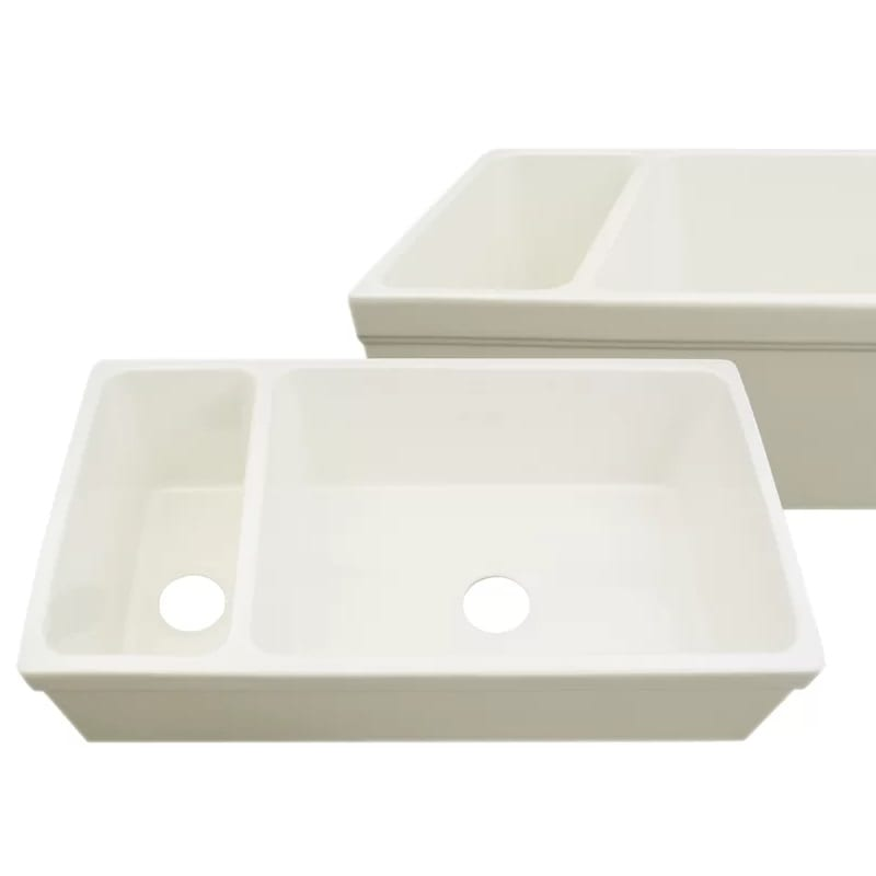 Whitehaus Collection Quatro Alcove 36 Inch Fireclay Farmhouse Sink