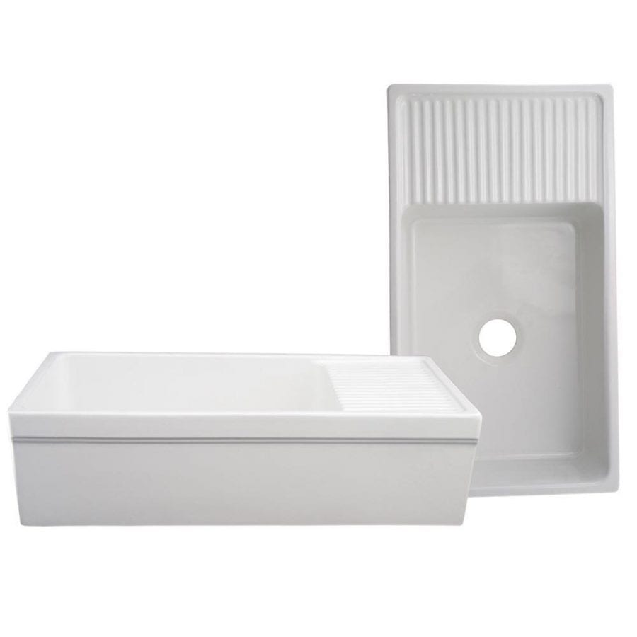 Whitehaus Farmhaus Quatro Alcove 36 Inch Reversible Farmhouse Sink Fireclay