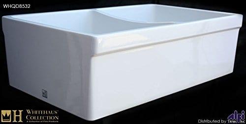 Whitehaus WHQDB532 Double Bowl Fireclay 33 Farmhouse Apron Kitchen Sink 0