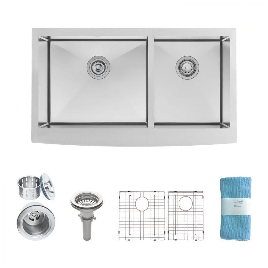Zuhne 33 Inch Farmhouse Apron 60-40 Deep Double Bowl 16 Gauge Stainless Steel Luxury Kitchen Sink