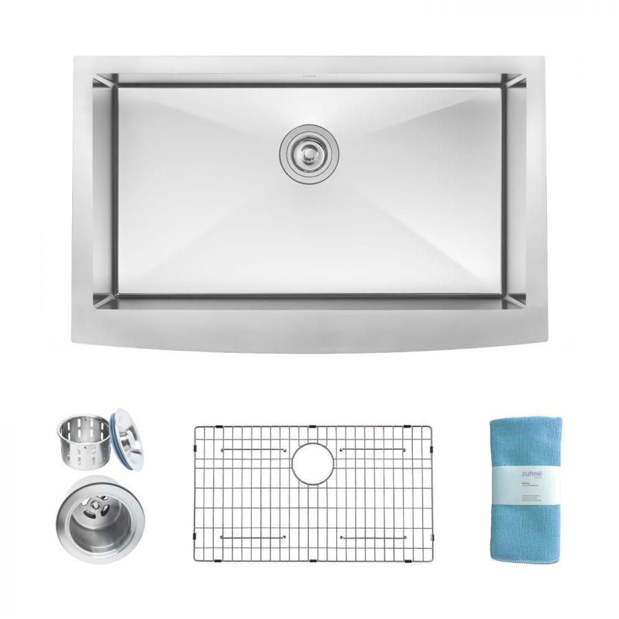 Zuhne 33 Inch Farmhouse Apron Deep Single Bowl 16 Gauge Stainless Steel Luxury Kitchen Sink