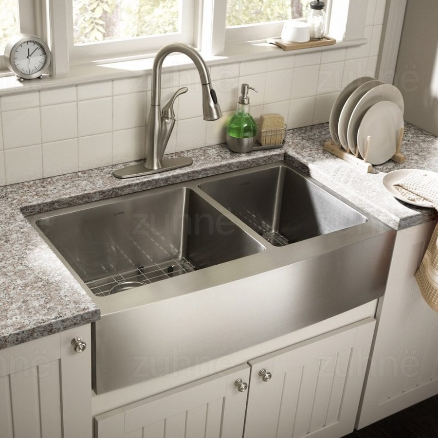 Zuhne 33 Inch Farmhouse Apron Front Double Stainless Steel Sink