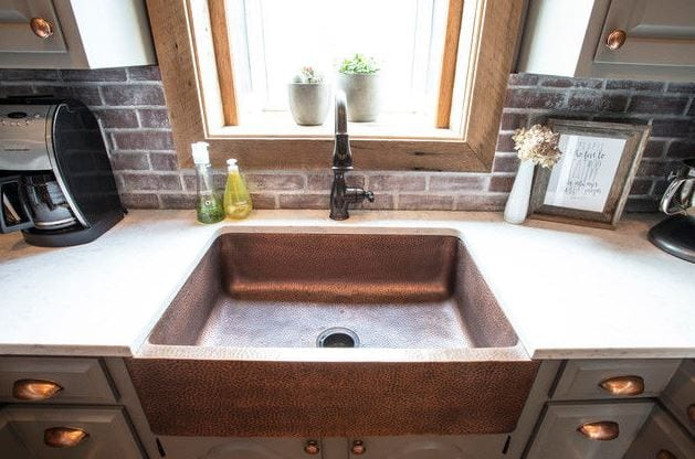 adams farmhouse apron-front copper kitchen sink 33