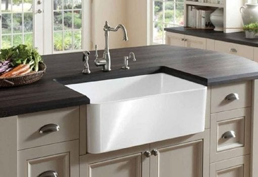 finefixtures white farmhouse themed sink