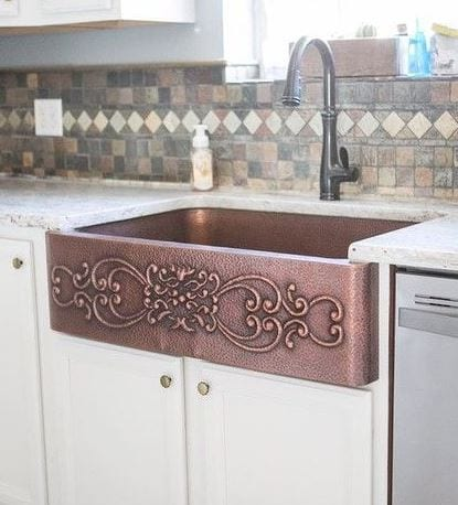 ganku farmhouse kitchen sink with scrolls antique copper 33