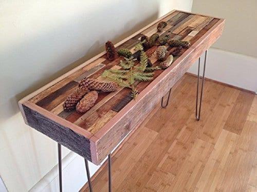 small reclaimed wood steel legs farmhouse console table