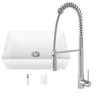 vigo 33 farmhouse kitchen sink with faucet in white