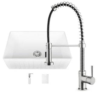 vigo farmhouse 33 kitchen sink white with faucet