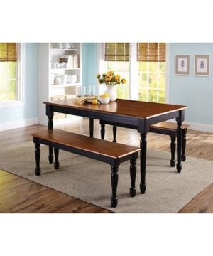 3 Piece Wooden Dining And Breakfast Table And Bench Set Furniture 0 300x360