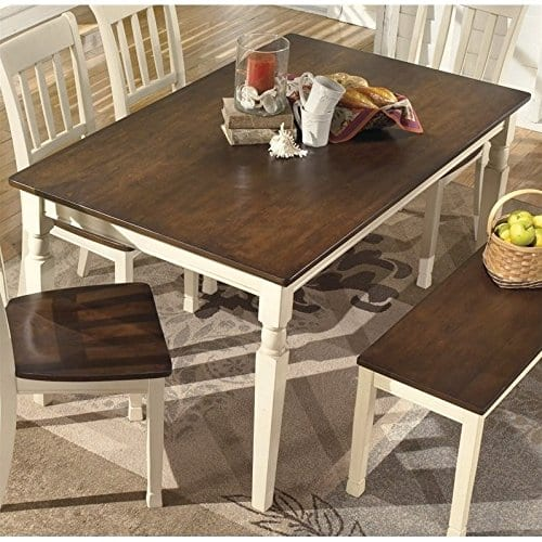 Ashley Furniture Signature Design Whitesburg Dining Room Table Rectangular Vintage Casual BrownCottage White 0 0