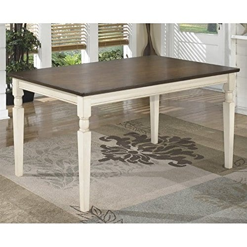 Ashley Furniture Signature Design Whitesburg Dining Room Table Rectangular Vintage Casual BrownCottage White 0