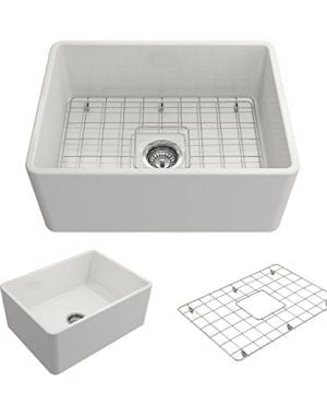 Classico Farmhouse Apron Front Fireclay 24 In Single Bowl Kitchen Sink With Protective Bottom Grid And Strainer In White 0 300x360