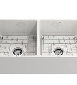 Classico Farmhouse Apron Front Fireclay 33 In Double Bowl Kitchen Sink With Protective Bottom Grid And Strainer In White 0 2 300x333