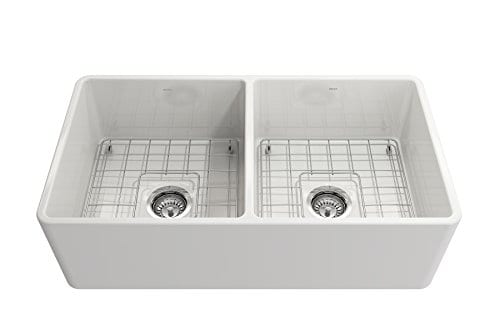 Classico Farmhouse Apron Front Fireclay 33 In Double Bowl Kitchen Sink With Protective Bottom Grid And Strainer In White 0 2