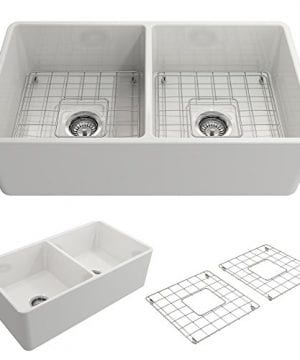 Classico Farmhouse Apron Front Fireclay 33 In Double Bowl Kitchen Sink With Protective Bottom Grid And Strainer In White 0 300x360