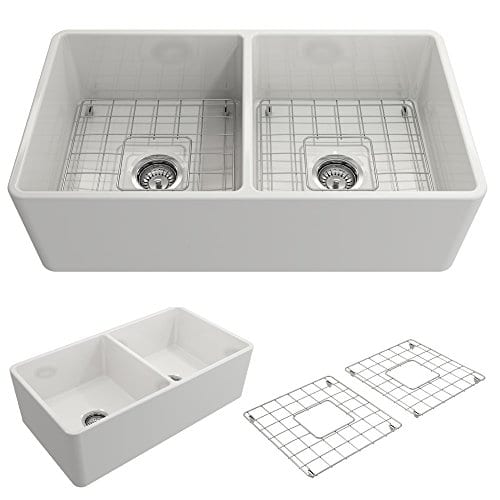 Classico Farmhouse Apron Front Fireclay 33 In Double Bowl Kitchen Sink With Protective Bottom Grid And Strainer In White 0