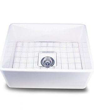 Nantucket Sinks T FCFS 24 24 Inch Single Bowl Fireclay Farmhouse Kitchen Sink White 0 300x360