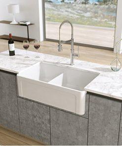 latoscana reversible double bowl fireclay farmhouse sink 1
