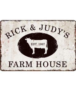 rick and judys farm house sign