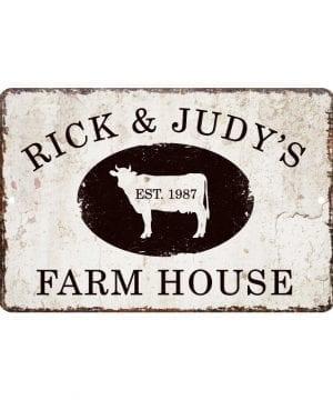 rick and judys farm house sign