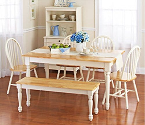 White Dining Room Set With Bench This Country Style Table And Chairs For 6 Is Solid Oak Wood Quality Construction A Traditional