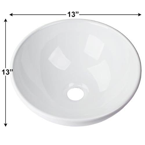 13x13 Round Bowl Porcelain Ceramic Bathroom Vessel Vanity Sink Art Basin Faucet 0 1