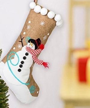19 Inch Burlap Snowman And Checkered Scarf Christmas Stocking With Pom Pom Trim 0 0 300x360