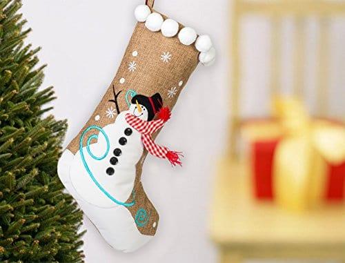 19 Inch Burlap Snowman And Checkered Scarf Christmas Stocking With Pom Pom Trim 0 0