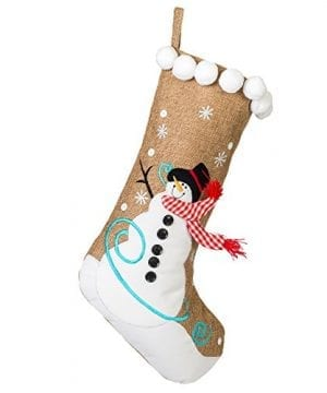 19 Inch Burlap Snowman And Checkered Scarf Christmas Stocking With Pom Pom Trim 0 300x360