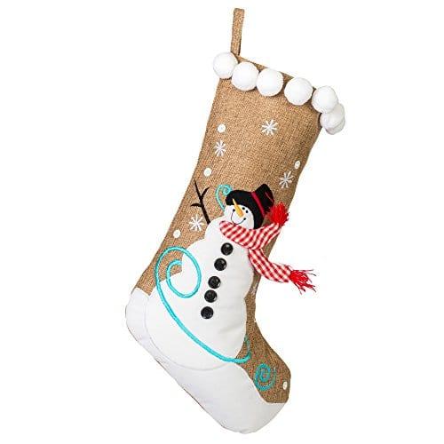 19 Inch Burlap Snowman And Checkered Scarf Christmas Stocking With Pom Pom Trim 0