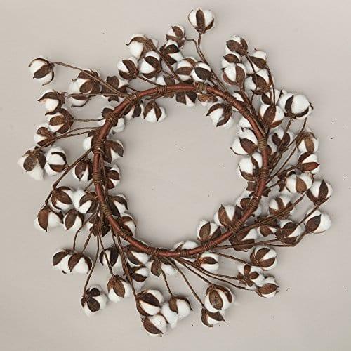24 Inch Real Cotton Wreath Farmhouse Decor Christmas Vintage Wreath 0 1