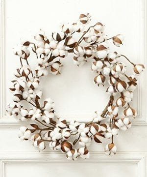 24 Inch Real Cotton Wreath Farmhouse Decor Christmas Vintage Wreath 0 300x360
