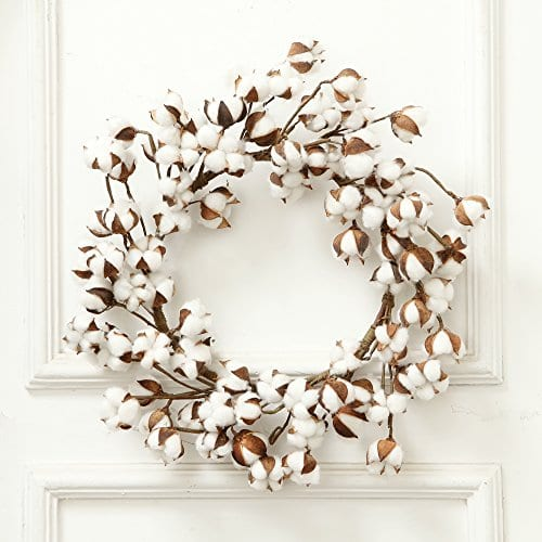 24 Inch Real Cotton Wreath Farmhouse Decor Christmas Vintage Wreath 0