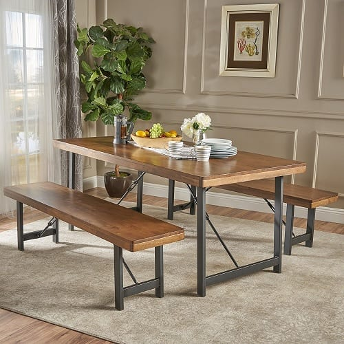 Blane Natural Walnut Farmhouse Dining Table and Bench