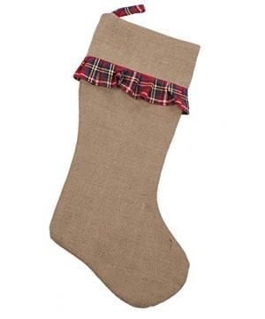 Breckenridge Plaid Ruffle 21 Inch Jute Decorative Christmas Stocking 0 300x360