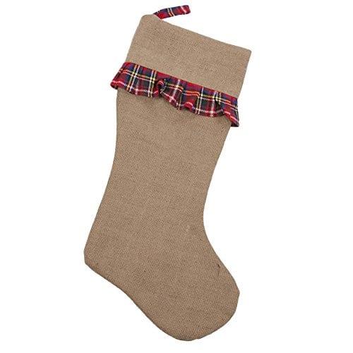 Breckenridge Plaid Ruffle 21 Inch Jute Decorative Christmas Stocking 0