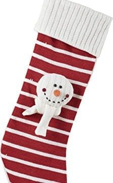 Candy Stripe And Snowman Applique 23 Inch Christmas Stocking With Cable Knit Cuff 0 224x360