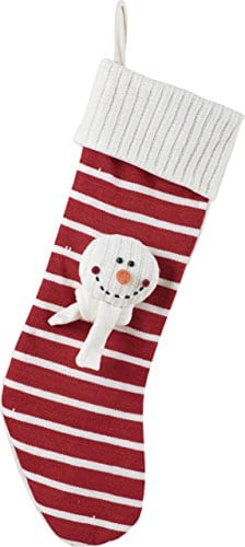 Candy Stripe And Snowman Applique 23 Inch Christmas Stocking With Cable Knit Cuff 0