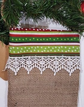 Christmas Burlap Stocking Red And Green Stripes With White Trim 0 0 281x360