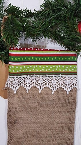 Christmas Burlap Stocking Red And Green Stripes With White Trim 0 0