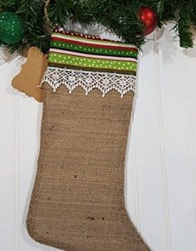 Christmas Burlap Stocking Red And Green Stripes With White Trim 0 281x360
