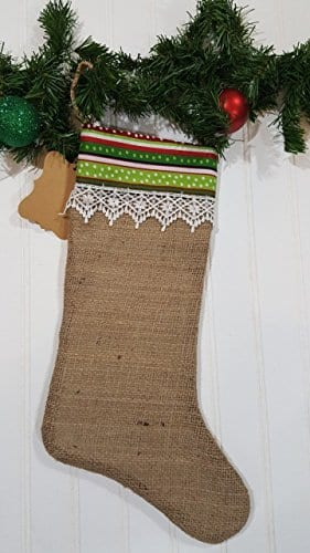 Christmas Burlap Stocking Red And Green Stripes With White Trim 0