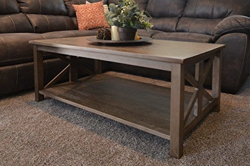 Farmhouse Style Coffee Table Solid Wood Rustic Weathered Gray East End Collection Living Room Furniture 0 1