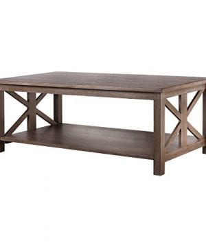 Farmhouse Style Coffee Table Solid Wood Rustic Weathered Gray East End Collection Living Room Furniture 0 300x360