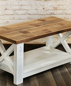 Farmhouse Coffee Table With White Base X Made From Reclaimed Wood 0 0 300x360