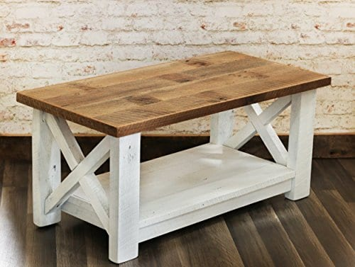 Farmhouse Coffee Table With White Base X Made From Reclaimed Wood 0 0