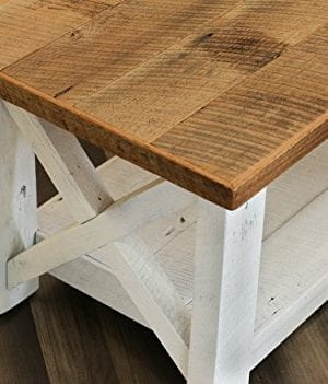 Farmhouse Coffee Table With White Base X Made From Reclaimed Wood 0 1 300x351