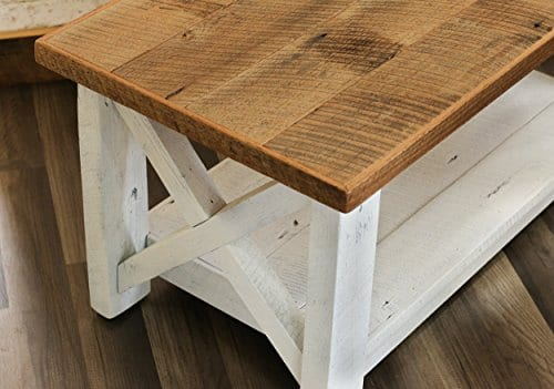 Farmhouse Coffee Table With White Base X Made From Reclaimed Wood 0 1