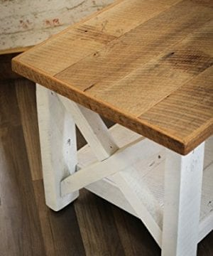 Farmhouse Coffee Table With White Base X Made From Reclaimed Wood 0 2 300x360