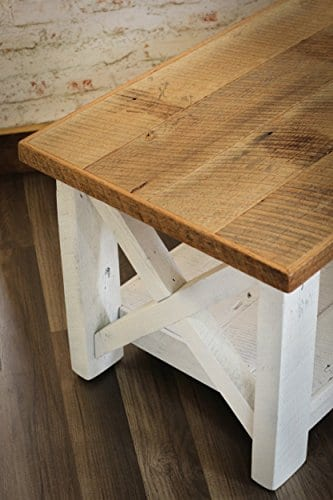 Farmhouse Coffee Table With White Base X Made From Reclaimed Wood 0 2